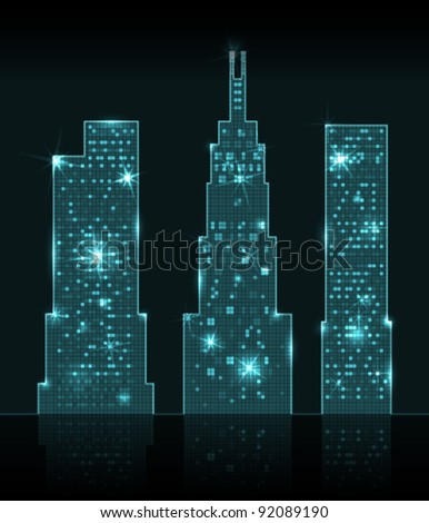 Three shining skyscrapers
