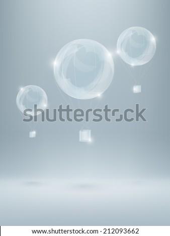 three shiny air baloons made of