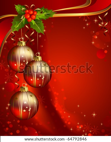 three shiny ball on the red Christmas background - stock vector