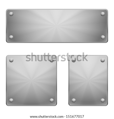 Three shiny metal plates of different size with rivets.