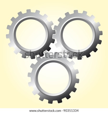 three silver gears over beige vector illustration