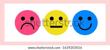 three simple emoticon, sad neutral happy Foto d'archivio ©
