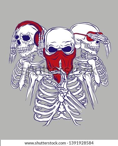 three skeletons pose as three
