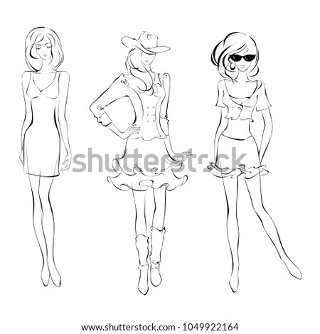three slender girls in summer