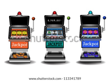 Three slot machines isolated on a white background. Gambling theme