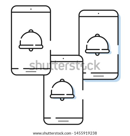 three smartphone icons in