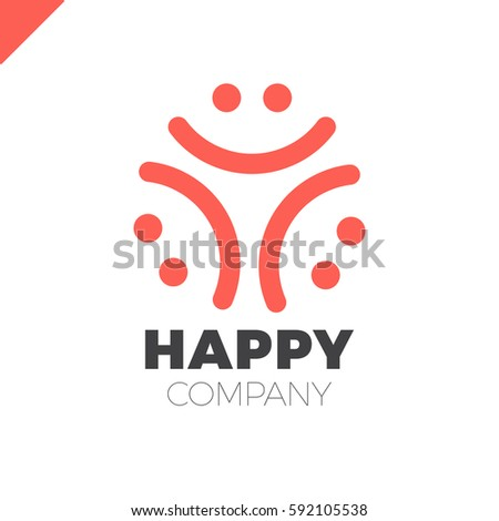 three smile people logo   happy