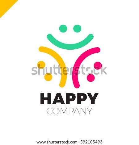 three smile people logo   happy