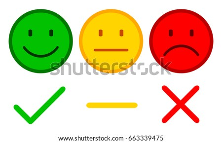 Three smilies with check mark, cross and dash - stock vector