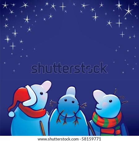 three snowmen look at starry
