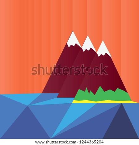 three snowy peaks vector