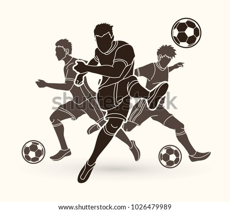 Three Soccer player team composition graphic vector.