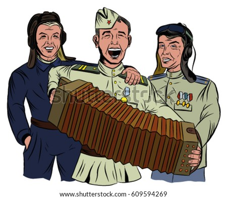 three soviet soldiers sing and