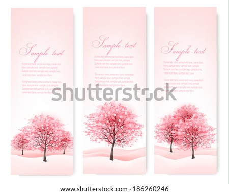 three spring banners with