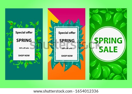 three spring sale posters for