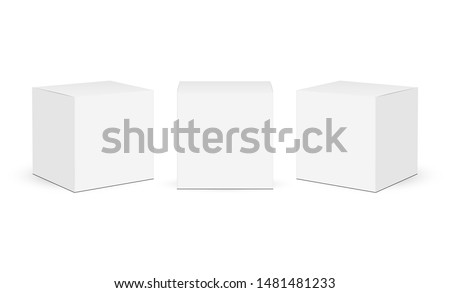 Three square paper boxes mockups isolated on white background. Vector illustration