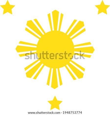 three stars and a sun vector