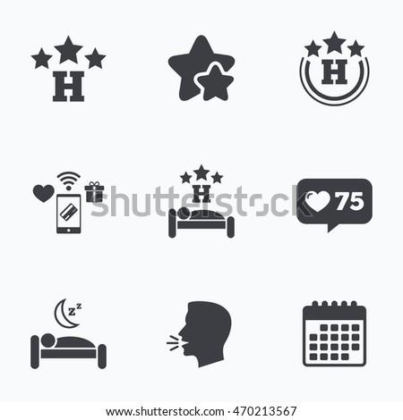 three stars hotel icons travel