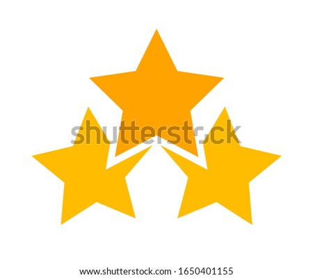 three stars icon cute isolated on white background, cartoon star shape yellow orange, illustration simple star rating symbol, clip art 3 star for logo, pentagram star for decoration ranking award