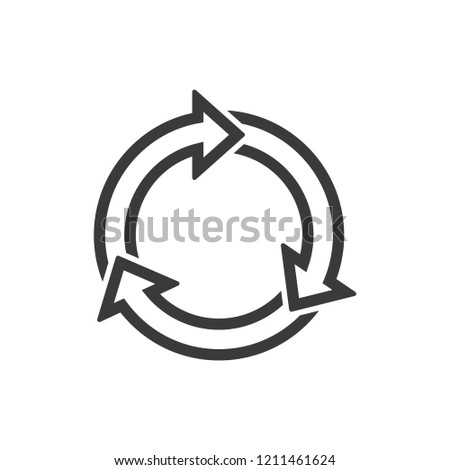 Three step cycle arrows outline icon