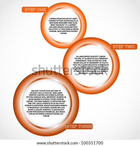 Three step of user guide. Layered document - vector illustration