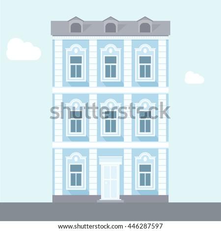 three story house blue flat