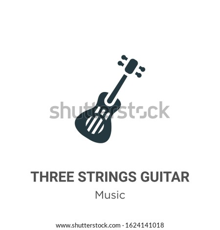 three strings guitar glyph icon