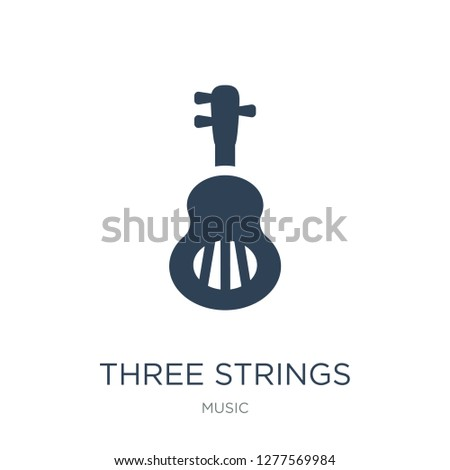 three strings guitar icon vector on white background, three strings guitar trendy filled icons from Music collection, three strings guitar vector illustration