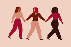 Three strong entrepreneurial females walk together and hold hands. Black woman supports and leads her friends forward. Partnership, feminism movement and Sisterhood concept. Vector flat illustration