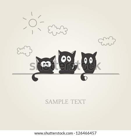 three stylized black cats