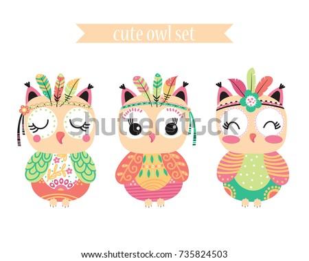 three stylized tribal cartoon