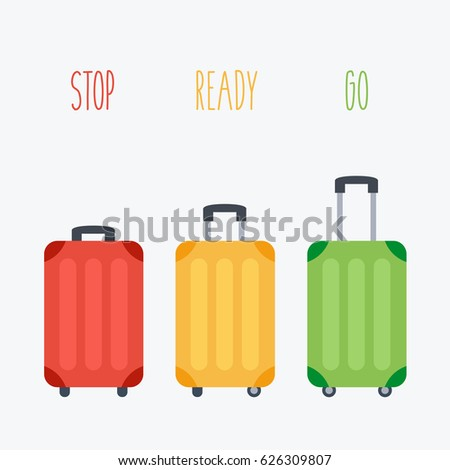 three suitcase red, green & yellow color vector. 3 luggage family in vacation. baggage in holiday Travel flat design style like a stoplight traffic lights. stop, ready go drive. open & close Handle