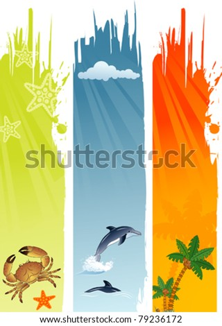 Three summer banner with palm tree, coconut, dolphin, crab, starfish, vector illustration