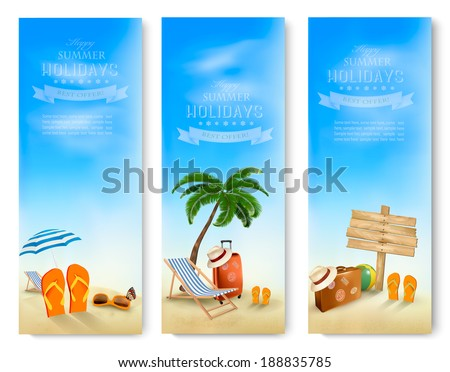 three summer vacation banners