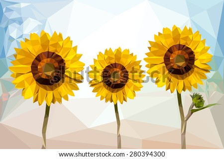 three sunflower low poly on
