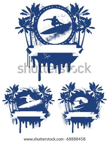 three surf blue shield in summer scene - stock vector