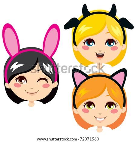 Three sweet girl heads wearing animal costume headbands for carnival