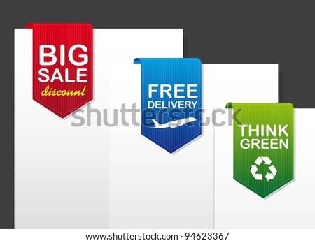 three tags over paper over gray background. vector illustration