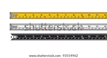 three tape measure isolated over white background. vector