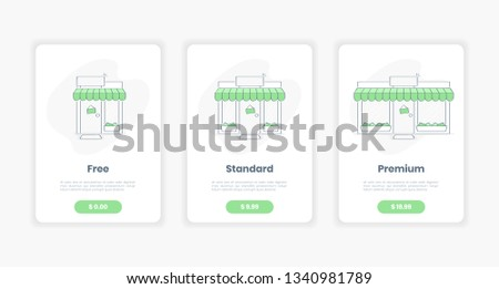 Three tariffs for commercial property with storefront, three businesses size - from little shop to big store. Pricing table template interface for the website, flat clean outline vector on white.