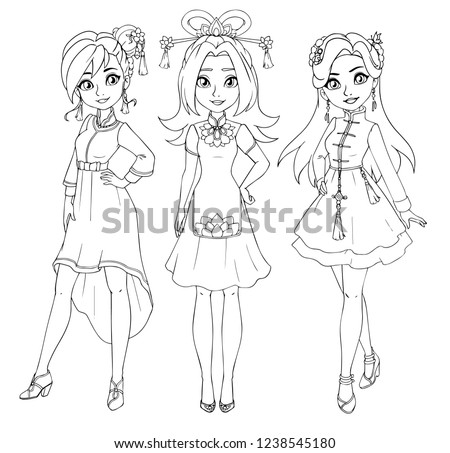 three teenage girls wearing