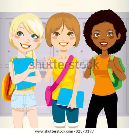three teenage schoolgirls back