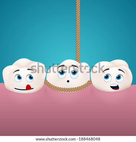 three teeth  one is being