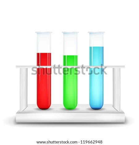 Three test tubes in metal box on white background