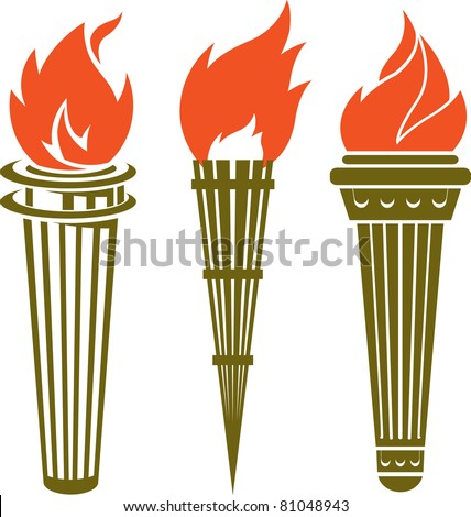 Three Torches - stock vector