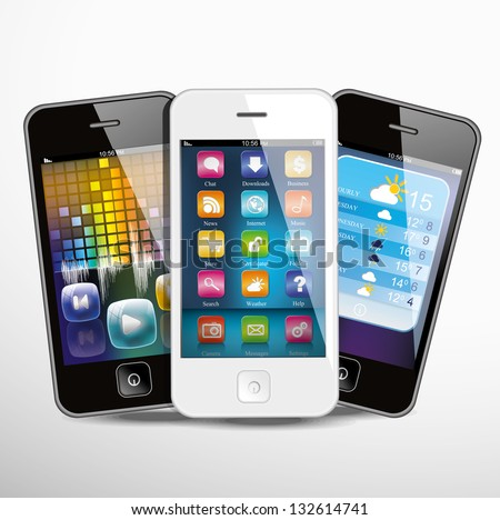 Three touchscreen smartphones with applications on screens. Vector illustration.