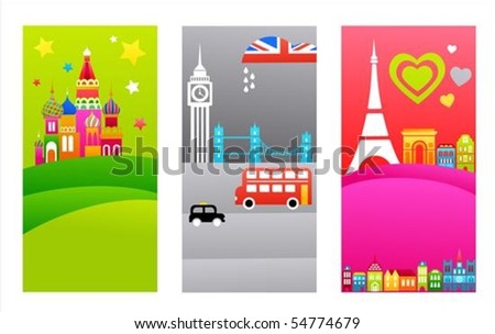 three tourist backgrounds with