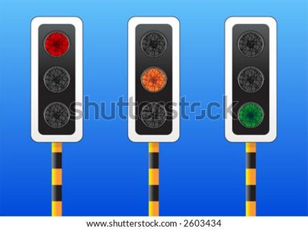 three traffic lights each one