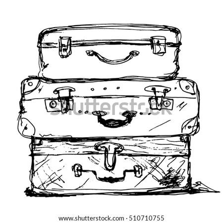 three travel bag vector...