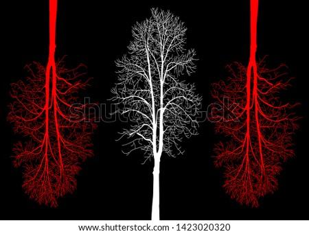 three trees on a black